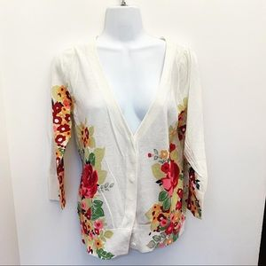 NWT Anthropologie Moth Beige Floral Cardigan